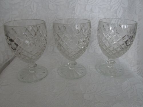 "Three Vintage Hocking Glass Waterford ""Waffle"" Footed Goblets"