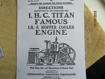 Ihc Titan Famous 1914 1 Hp Gas Engine Instruction Parts Manual
