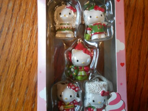 Sanrio 2011 HELLO KITTY Christmas/Holiday Miniature Mini Ornament - Set Of 5 NIB