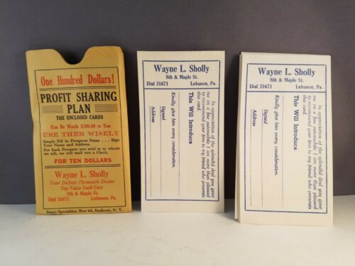 Vintage Desoto Advertising Dealer Profit Sharing Plan Cards Wayne L. Sholly