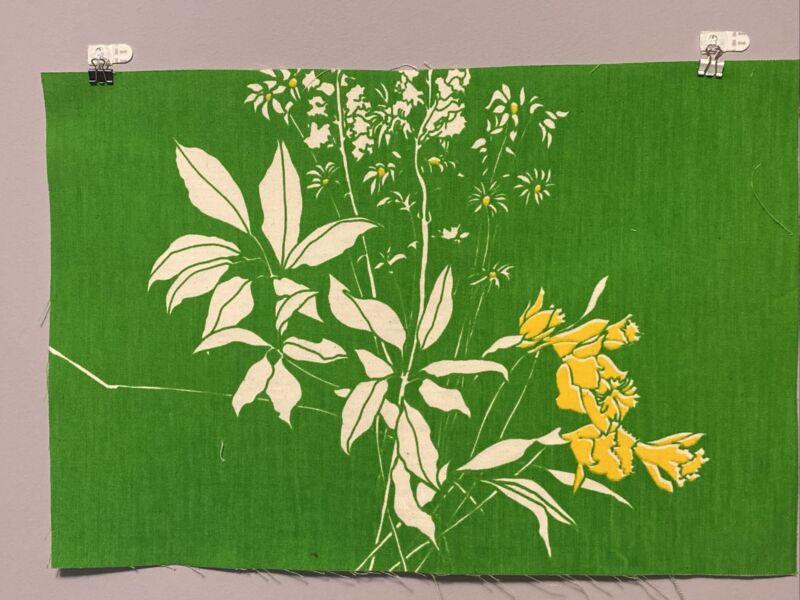 """Vintage Marushka  Wall Art Flowers Linen 13"""" x 19.5"""" mid century Modern"""