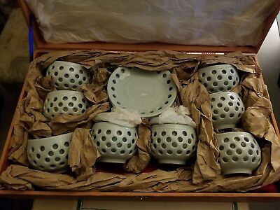 TEACUPS AND SAUCERS, VINTAGE, Powder Blue, Never been used, 14 piece set