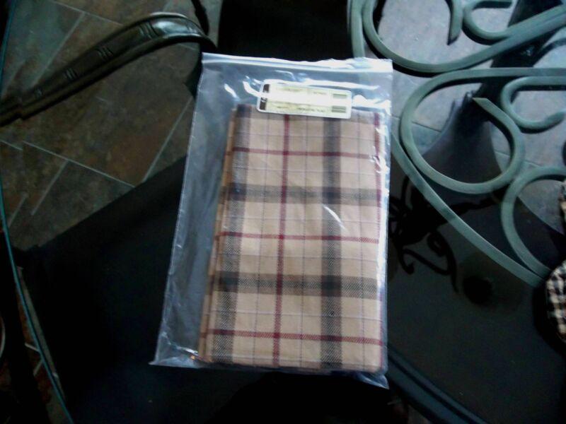 Longaberger NAPKINS Fabric Set of 2 SIGNATURE PLAID - Autumn Tan, Brown, Red