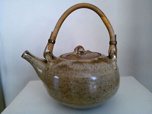 Vintage Pottery Teapot The Friars Pottery With Cane Handle