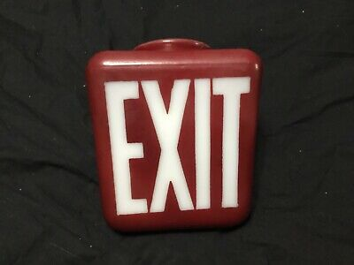 Vintage Red Exit Sign Heavy Red Glass Lamp Two Sided