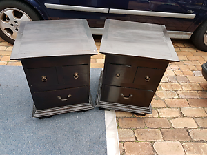 Pair of bedside tables. Black brown solid wood. Coombabah Gold Coast North Preview