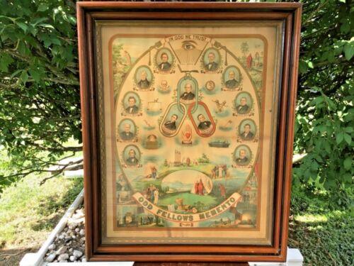 Antique 1883 ODD FELLOWS MOMENTO Print Founding Members IOOF U.S.A. Original