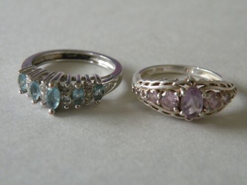 Pair (Lot of 2) Silver Rings w faux Gemstones, sizes 5 & 6, STS and NV markings