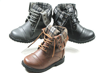New Baby Toddler Combat Riding Mid-Calf Boots With Side Release Buttons Sz 4-11  (Toddlers Combat Boots)
