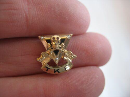 Vintage Tau Kappa Epsilon Pin Fraternity Badge Greek Society Skull Seed Pearls