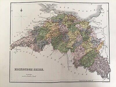 Edinburgh Shire, 1884 Antique County Map, Lizars, Atlas, Scotland, Colour