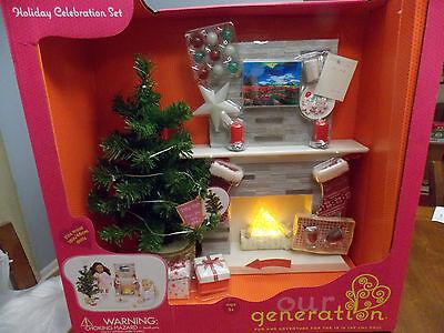 "Our Generation 18"" Doll Holiday Celebration Set Fireplace Christmas Tree NIB"