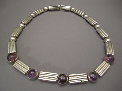 VINTAGE MEXICAN STERLING SILVER AND AMETHYST NECKLACE ANTINO PINEDA STYLE 145 GR