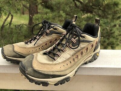 Mens 12 MERRELL Pulse II Continuum Leather Brown Hiking Trail Shoes Low GUC 46.5