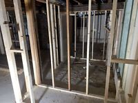 Frame, drywall hang, tape, repair, patches