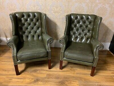 Quality Green English leather hardwood framed Chesterfield Wingback armchair