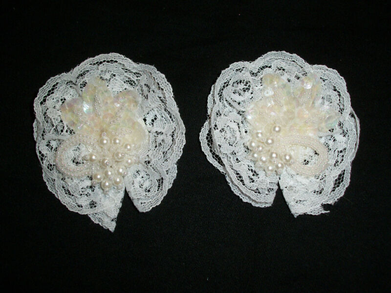 "VINTAGE BRIDAL / EVENING / FORMAL SHOE CLIPS WHITE  2  3/4 "" INCH ROUND   LQQK"