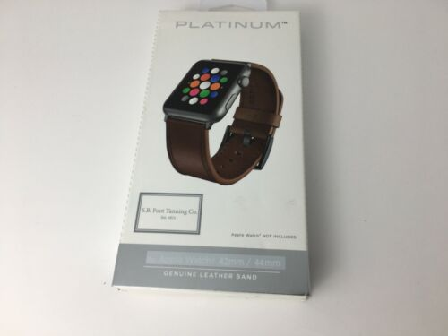 Platinum Leather Watch Strap for Apple Watch Series 4 3 42mm 44mm Bourbon Brown