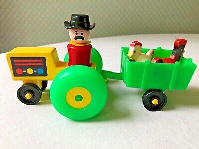 Vintage Fisher Price Little People Tractor Wagon Chicken Hen Man