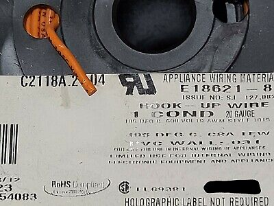 Carol C2118a 20awg Solid Tinned Copper Hook Up Wire Ul-1015 600v Orange 50ft