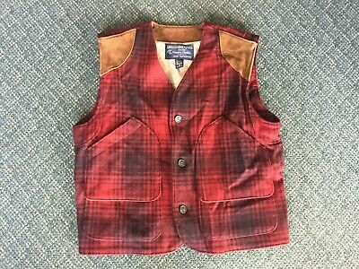 VINTAGE Abercrombie & Fitch Hunting Red Wool Vest Suede Leather Lined Medium M