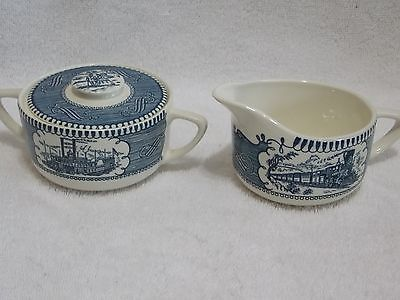 Currier & Ives Royal China Creamer and Sugar Bowl with Lid Blue White
