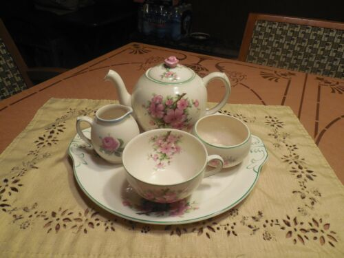 VTG AMBASSADOR WARE ENGLAND FONDEVILLE 5 PIECE  BREAKFAST SET FOR ONE ON TRAY