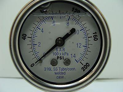 301lfw-254g 2.5 Glycerin Filled Ss 316 Internals Gauge 14 Npt Lm 0200 Psi