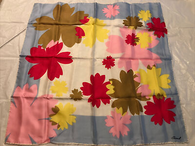 """Vintage Scarf Styles -1920s to 1960s Vintage Burmel Silk Scarf  Flowers Floral Square Pink Blue Yellow White 26""""x26"""" $14.95 AT vintagedancer.com"""