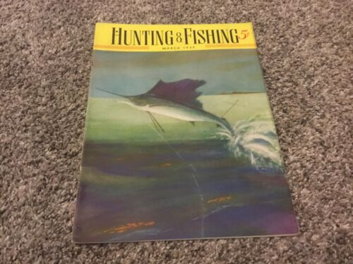 Vintage March 1937 HUNTING and FISHING magazine dogs boating guns woodcraft