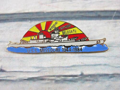 Missouri Jaycee Delegate 1944 - 1984 USS Navy Battle WWII Ship Enamel Lapel Pin