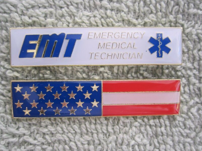 AMERICAN FLAG & EMT ENAMEL CITATION BAR UNIFORM PIN TWO PC BADGE SET