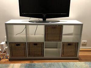 IKEA White Shelving Unit with Baskets