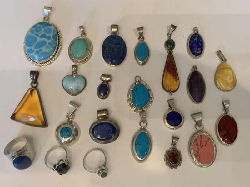 STERLING PENDANT AND RING LOT 172 Gram Total Weight All Wearable Jewelry!!
