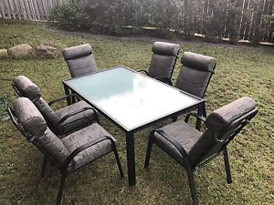 Outdoor dining set glass top table with 6 chairs Mount Cotton Redland Area Preview