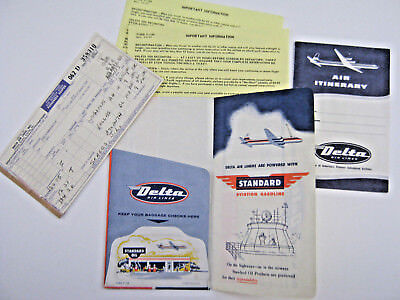 Vtg 1958 Delta Airlines Boarding Pass Ticket Itinerary  Standard Gas   Oil Litho