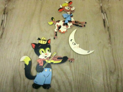 Vtg Cat Fiddle Cow Moon Mother Goose Pin-Ups Dolly Toy Co Nursery Plaques 1950s