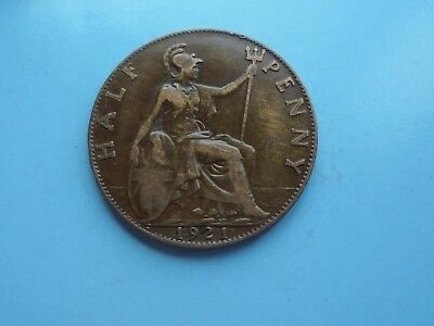 1921 Halfpenny, George V., Good Condition.
