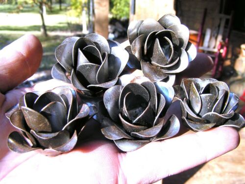 FIVE medium Roses, metal flowers for crafts, jewelry, embellishments and accents