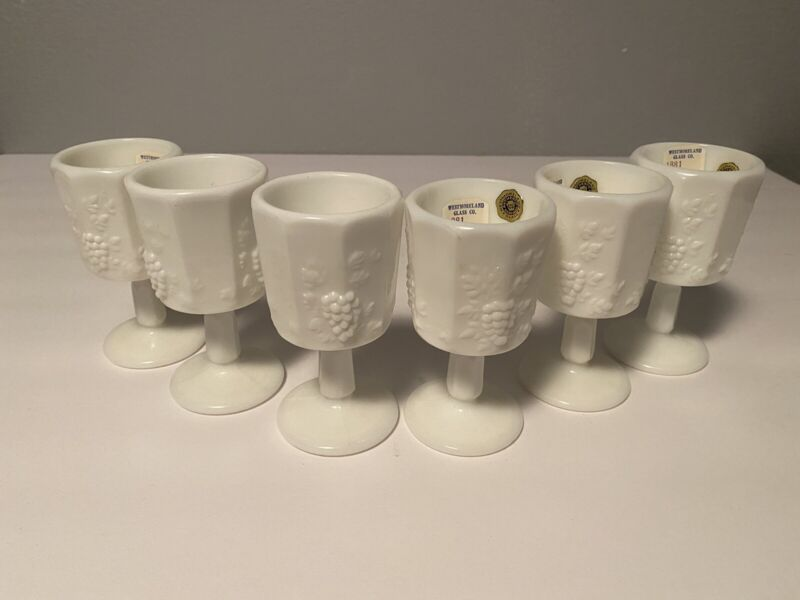 Westmoreland Milk Glass Paneled Grape 6 Cordials