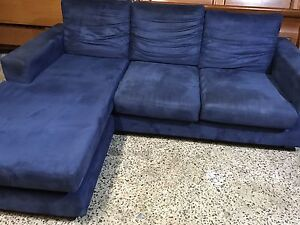 Quality blue suede Lounge chaise Plumpton Blacktown Area Preview
