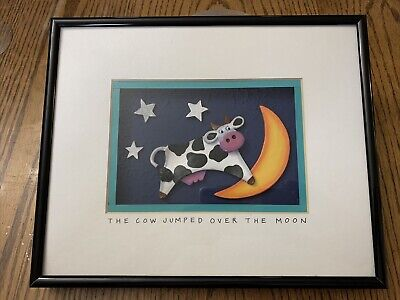 Bright Star Designs The Cow Jumped Over The Moon 3 Dimensional Art Signed