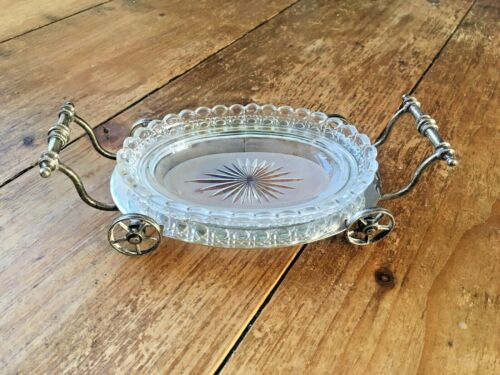 RARE C1872-91 THOMAS WHITE SILVER PLATED & GLASS WAGON WHEELED CART BUTTER DISH