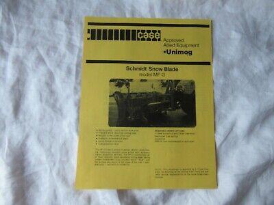 Case Unimog Schmidt Snow Blade Mf-3 Specification Sheet Brochure