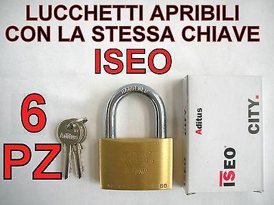 6 LUCCHETTI ISEO APRIBILI CON LA STESSA CHIAVE UNICA STESSE CHIAVI UGUALI 60 KA