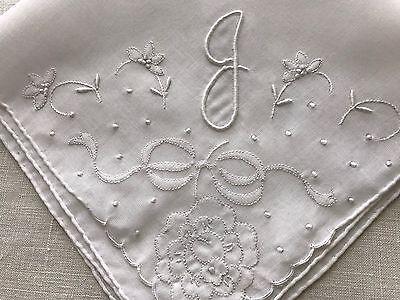 Vintage White Hankie Madeira Style Embroidery Monogram J Wedding Bride Appliqué