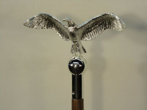 """Eagle Classic 8 1/2""""  Flying Chrome Indoor Parade Flagpole Ornament ABS Plastic"""