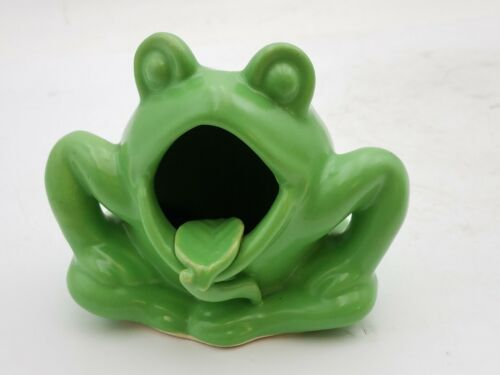 Vintage JAPAN Green Frog Decor Handpainted Collectible Open Mouth Planter Dish