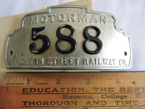 Rare 1910 Motorman Hat Badge Brockton Street Railway Trolley Boston