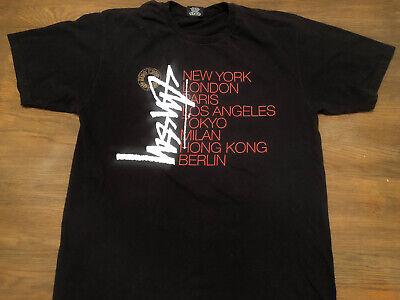 STUSSY World Tour Tee Men's L Black Logo T-Shirt Large